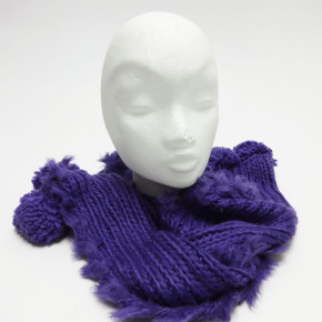 Purple knitted scarves with fake fur and pompoms