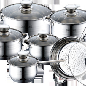 Royalty Line - 12 pcs stainless steel Set with Ceramic Coat. Frypan