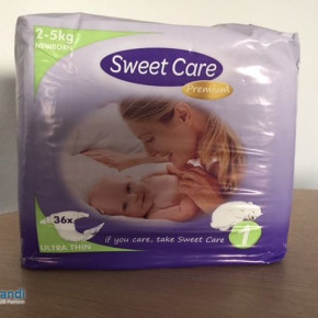 """Baby diapers """"Sweetcare"""" for 0,04 € per diaper"""