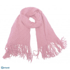 Light pink knitted winter scarf with fringes