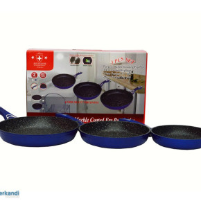 3 Piece Set pans ceramic coated in blue; Thickness: 4.5mm