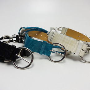 Lady belts with chains and chrome buckle