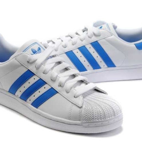 ADIDAS SUPERSTAR LADIES LEATHER SHOES WHITE-BLUE
