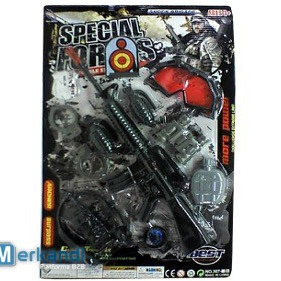 Special forces weapon with grenades flask handcuffs and red glasses