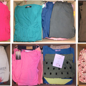 Clothing Mix 2nd choice sample package goods on pallets New