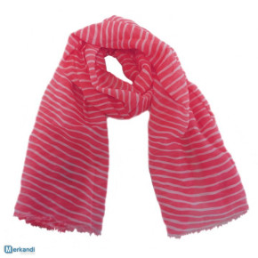 Neon-pink scarves with stripes