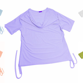 Women's t-shirts with waterfall neckline