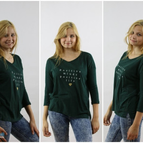 Blouse for women with the inscription in green