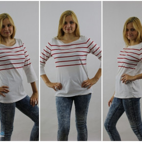 Women's sweatshirts with red stripes