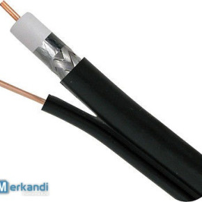 COAXIAL CABLE RG6 STANDARD SHIELDED with MESSENGER BLACK 100M