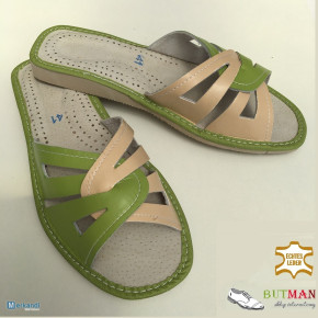 Women's Slippers Home Shoes Flip Flops Natural Leather