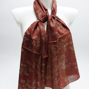 Red satin-look scarves with twig print