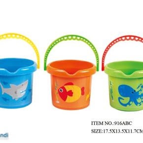 Beach  Toy Bucket with watermill , truck and and accessories in a pvc