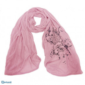 Pink scarves with tribal print and rhinestones