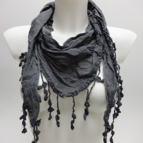 Grey triangular scarves with crochet edges