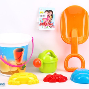 Beach Toy Bucket with watermill truck and accessories in a pvc bag