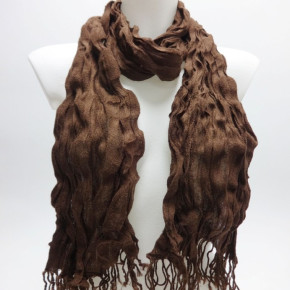 Black and brown solid colored scarves with fringes