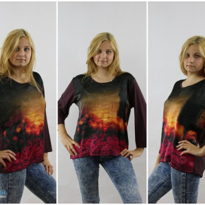 Women's blouses with print and lace back