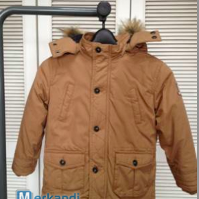 more than80% off kids cotton canvas winter jacket with fur collar
