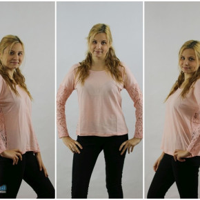 Blouse with lace for a woman in pink