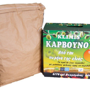 BBQ briquettes made from olive pips