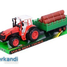 Farm set. Tractors with wagon with tree trunks