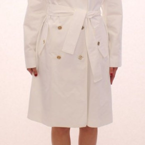 DOLCE GABBANA D&G White Cotton Trench Coat Jacket