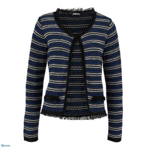 Warm sweater with fringes Black Blue White