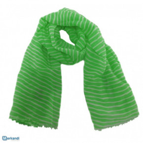 Neon-green striped scarves