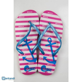 21245 striped women flip flops with anchor designs