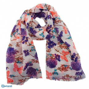 Scarves with butterfly and flower print