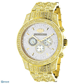 LUXURMAN MENS DIAMOND WATCH 1.25CT YELLOW GOLD TONE
