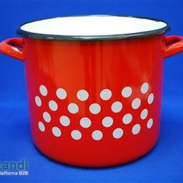 Enamel Pot red decor 21 cm 6Lit
