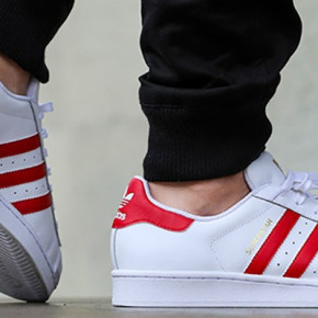 ADIDAS SUPERSTAR LADIES LEATHER SHOES WHITE-RED