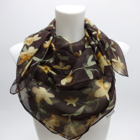 Square scarves with flower print