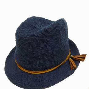 Blue acrylic trilby hats with tassels