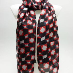 Black scarves with red/white allover print