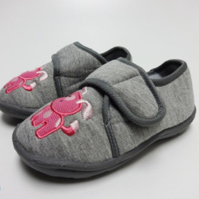 Grey jersey kids slippers home shoes with pink embroidery
