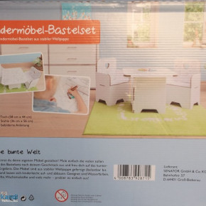 Children's Furniture Craft Kit 3-Piece, 1 table, 2 chairs