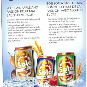 Malt drink SOLO with flavor : apple, regular and passion fruit can 0.33 L