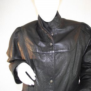 Lamb leather jacket Long, black print