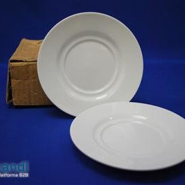 Plate porcelain salad white piece of 6
