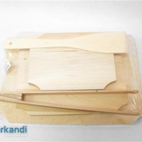 Wooden Cutting board piece of 3 teflon + meat tongs