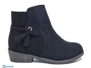 Black faux suede 'Lovely skull' ankle boots - kids shoes