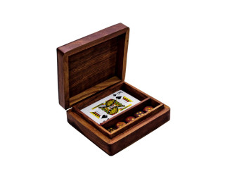 Wooden dice and cards set