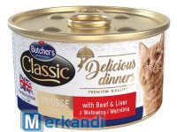 BUTCHER'S DELICIOUS DINNER CAT WITH BEEF AND LIVER MOUSSE 85gCAN