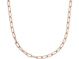 Paper Clip Necklace 46 cm - 925 Silver Made in Italy