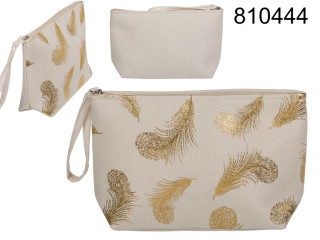 Cosmetic bag golden feathers beige