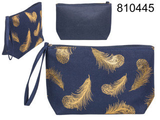 Cosmetic bag with golden grenade feathers