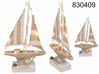 Wooden sailing ship with LED - decoration